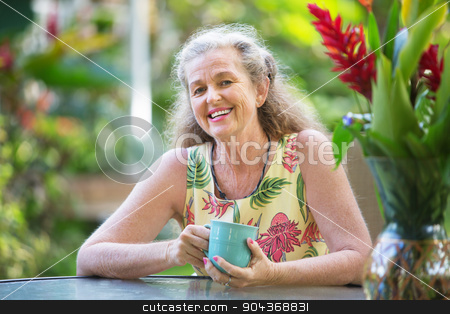 Happy Female Smiling stock photo, Attractive single middle aged woman with smile by Scott Griessel