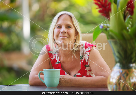 Cheerful Woman with Grin stock photo, Cheerful single adult female with grin outdoors by Scott Griessel