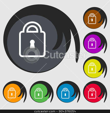 Lock icon sign. Symbol on eight colored buttons. Vector