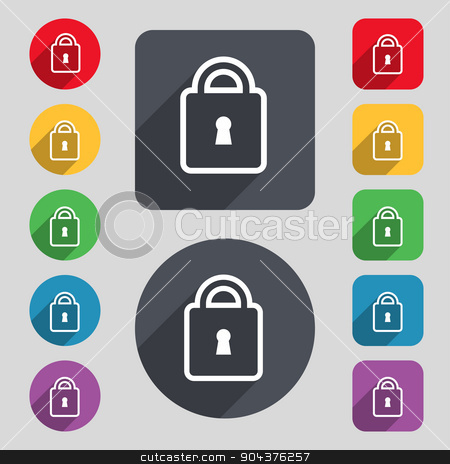 Lock icon sign. A set of 12 colored buttons and a long shadow. Flat design. Vector