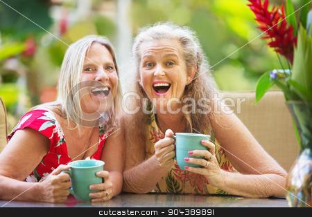 Joyful Women Sitting Outdoors stock photo, Pair of joyful female friends on holiday by Scott Griessel