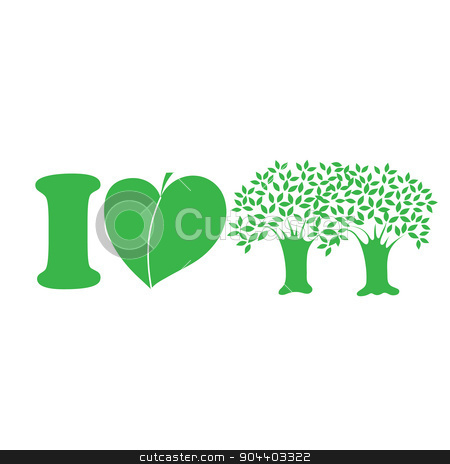 I Love Trees stock vector clipart, A simple green graphic that says I love trees by Maria Bell