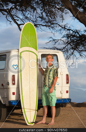 Person Posing with Surfboard stock photo, Single person with eyeglasses posing with surfboard by Scott Griessel