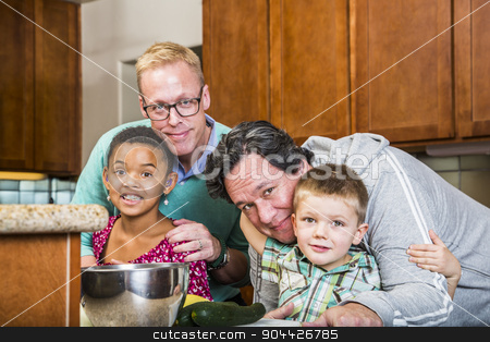Same Sex Couple with Their Children stock photo, Gay with their kids in a residential kitchen by Scott Griessel