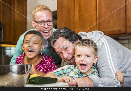 Laughing Family with Gay Dads in Kitchen stock photo, Same sex couple and kids having fun at meal time by Scott Griessel