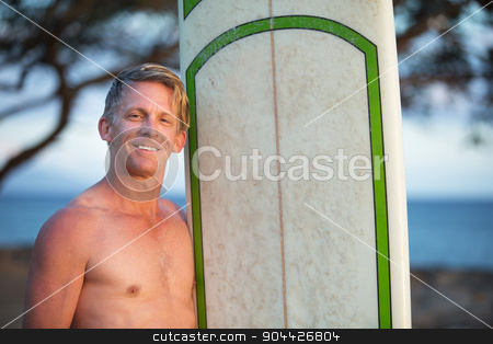 Handsome Surfer with Surfboard stock photo, Handsome single adult male with surfboard outdoors by Scott Griessel