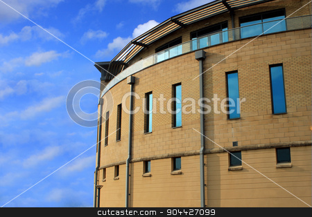 Modern offices stock photo, Modern office on a business park with a white background by Martin Crowdy