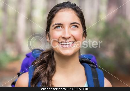 Happy jogger looking away