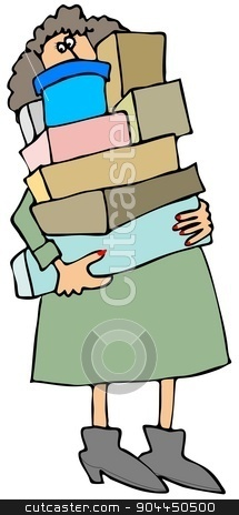 Woman carrying boxes stock photo, This illustration depicts a woman carrying a stack of shopping boxes. by Dennis Cox
