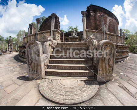 Ancient Vatadage Buddhist stupa in Pollonnaruwa, Sri Lanka