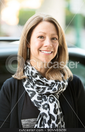 Beautiful Urban Woman stock photo, Beautiful Caucasian adult business woman close up outdoors by Scott Griessel