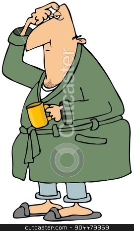 Morning coffee stock photo, This illustration depicts a sleepy man in a bathrobe scratching his head and holding a cup of coffee. by Dennis Cox