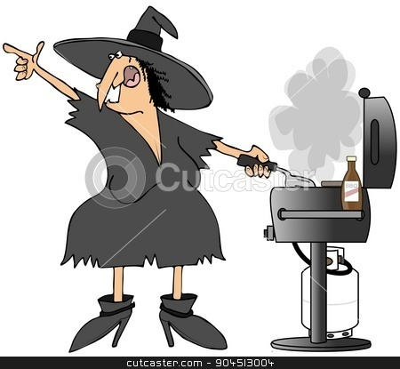 Witch grilling burgers stock photo, This illustration depicts a Halloween with grilling burgers on a propane BBQ. by Dennis Cox