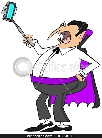 Vampire with a selfy stick stock photo, This illustration depicts a vampire using a selfy stick to take a photo of himself. by Dennis Cox