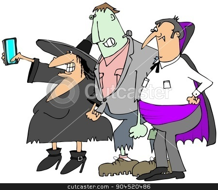 Halloween selfy stock photo, This illustration depicts a vampire, monster and a witch taking a selfy photograph. by Dennis Cox