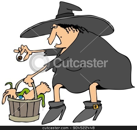 Witches bucket of parts stock photo, This illustration depicts a Halloween witch choosing parts from a wooden bucket full of feet, hands, snakes and eyeballs. by Dennis Cox