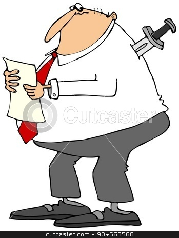 Businessman with knife in back stock photo, Illustration depicting a businessman reading a report with a large knife stuck in his back. by Dennis Cox
