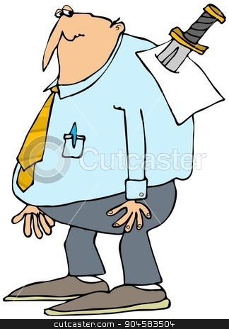 You're fired stock photo, Illustration depicting a businessman noticing a paper stuck to his back with a large knife. by Dennis Cox