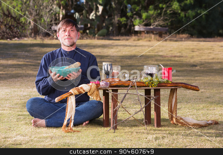 Single Male at Pagan Altar stock photo, Caucasian bare foot male at pagan altar outdoors by Scott Griessel