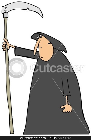 Hooded man carrying a scythe stock photo, Illustration depicting a hooded man carrying a large scythe. by Dennis Cox