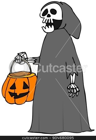 Trick or treat skeleton  stock photo, Illustration depicting a skeleton in a hooded garment carrying a Halloween jack-o-lantern. by Dennis Cox