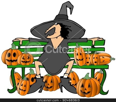 Witch on a bench stock photo, Illustration depicting a Halloween witch sitting on a bench surrounded by carved pumpkins. by Dennis Cox
