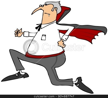 Vampire running scared stock photo, Illustration of a frightened vampire running with his cape rippling behind him. by Dennis Cox