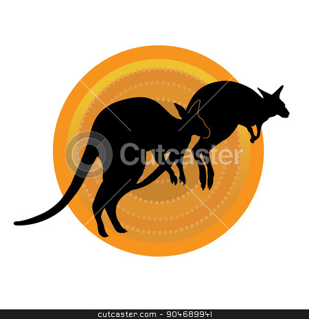 Kangaroos Running stock vector clipart, A silhouette of a pair of kangaroos running against a stylized aboriginal patterned circle by Maria Bell