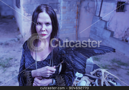 Beautiful Witch NWith Crow Wings stock photo, Beautiful witch with animal fetish near altar by Scott Griessel
