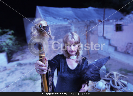 Blond Witch with Crow Wings stock photo, Occult woman in black with crow wings and bird head by Scott Griessel