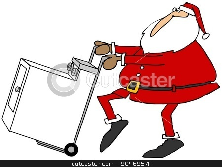Santa with a new clothes dryer stock photo, Illustration depicting Santa Claus pushing a new clothes dryer on a hand truck. by Dennis Cox
