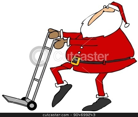 Santa using a hand truck stock photo, Illustration depicting Santa Claus pushing an empty hand truck. by Dennis Cox