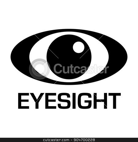 eyesignt icon stock vector clipart, Black and white eyesight logo with simple illustrated design by Michael Travers