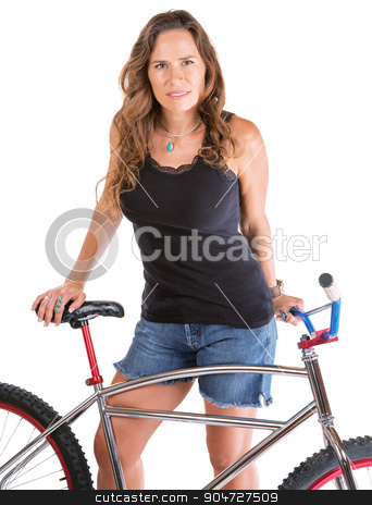 Beautiful Lady with Mountain Bike stock photo, Isolated Hispanic female standing behind her mountain bike by Scott Griessel