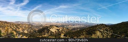 Los Padres National Forest stock photo, Panorama shot of the Los Padres National Forest by Henrik Lehnerer