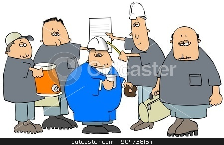 Construction crew before work stock photo, Illustration depicting an all male construction crew gathered together before starting work. by Dennis Cox