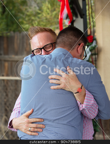 Gay Couple Embracing stock photo, Back view of homosexual male couple embracing by Scott Griessel