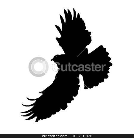 Eagle Silhouette stock vector clipart, A silhouette of an eagle or hawk in mid flight by Maria Bell