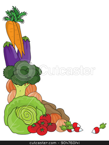 Vegetable Border stock vector clipart, A grouping of vegetables as a frame or border by Maria Bell