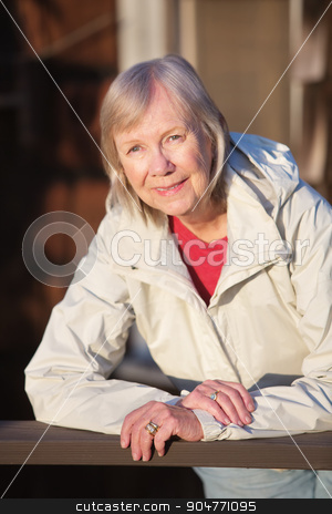 Woman Leaning on Railing stock photo, European smiling lady leaning on railing outdoors by Scott Griessel