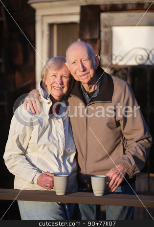 Attractive Couple Outdoors stock photo, Happy European senior couple together standing outdoors by Scott Griessel