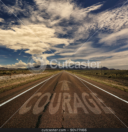 Conceptual Image of Road With the Word Courage stock photo, Conceptual image of desert road with the word courage and arrow by Scott Griessel