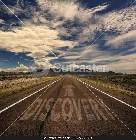Conceptual Image of Road With the Word Discovery stock photo, Conceptual image of desert road with the word discovery and arrow by Scott Griessel