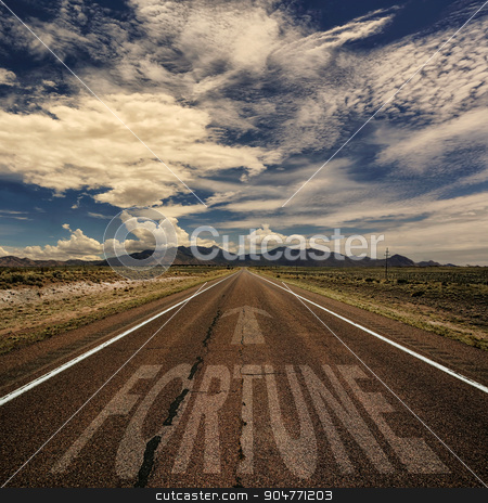Conceptual Image of Road With the Word Fortune stock photo, Conceptual image of desert road with the word fortune and arrow by Scott Griessel