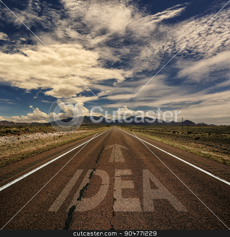 Conceptual Image of Road With the Word Idea stock photo, Conceptual image of desert road with the word idea and arrow by Scott Griessel