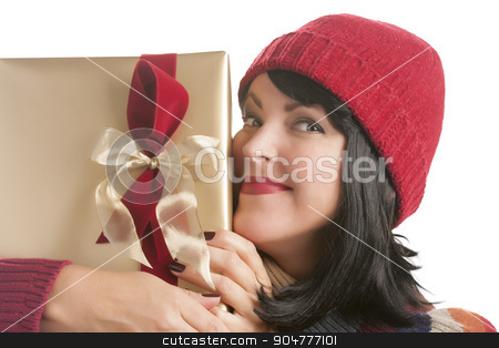 Happy Woman Holding Christmas Gift on White stock photo, Happy Woman Holding Christmas Gift Isolated on a White Background. by Andy Dean