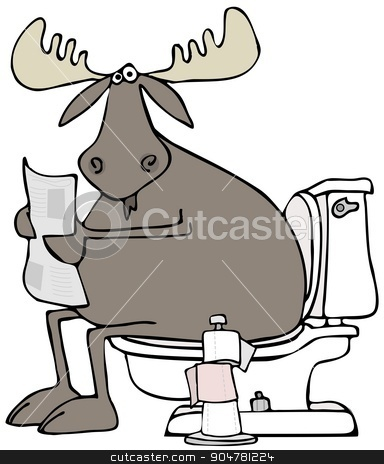 Moose sitting on a toilet stock photo, Illustration depicting a moose reading the newspaper while he's sitting on the toilet. by Dennis Cox
