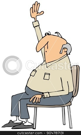 Man with a question stock photo, Illustration depicting an old man sitting in a chair and raising his arm indicating that he has a question to ask. by Dennis Cox