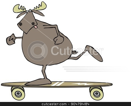 Moose on a skateboard stock photo, Illustration depicting a bull moose pushing off on a long skateboard. by Dennis Cox