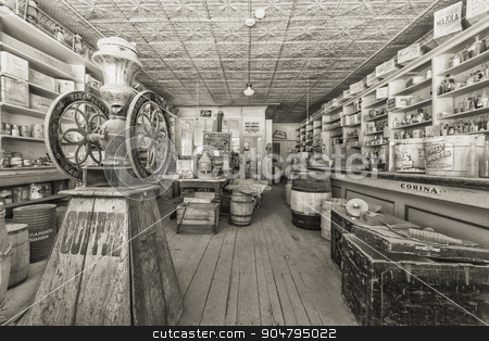 Vintage Historic Store in Bodie Ghost Town stock photo, BODIE, MONO COUNTY, CALIFORNIA, USA - SEPTEMBER 22:  Historic Bodie store stocked with provisions as they appeared when it was abandoned in 1915, on September 22, 2015 in Bodie, California, USA. by Scott Griessel